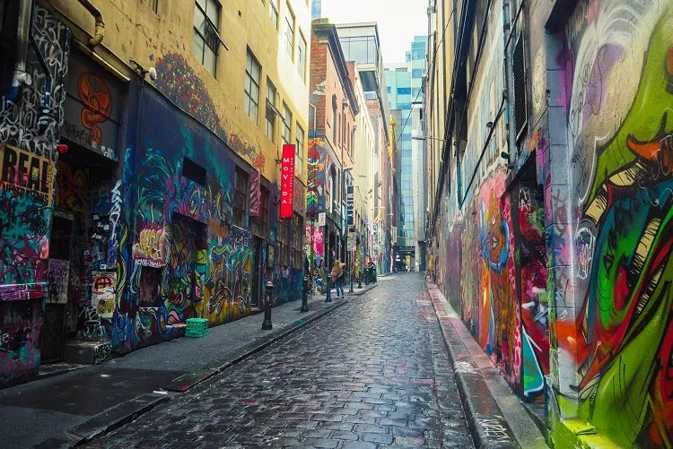 Image of street art-lined Hosier Lane in Melbourne Australia