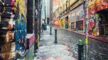 Image of Hosier Lane walls and ground covered in street art Melbourne Australia