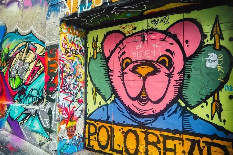 Image of pink polar bear street art in Hosier Lane Melbourne