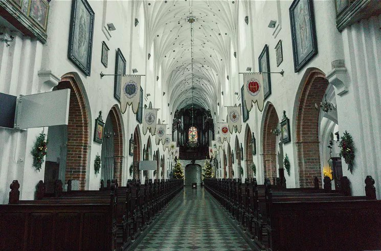 Image of inside cathedral with white vaulted gothic arches and medieval-style flags decorating the pews