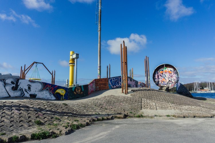Image of the geopark made from old oil containers in Stavanger Norway