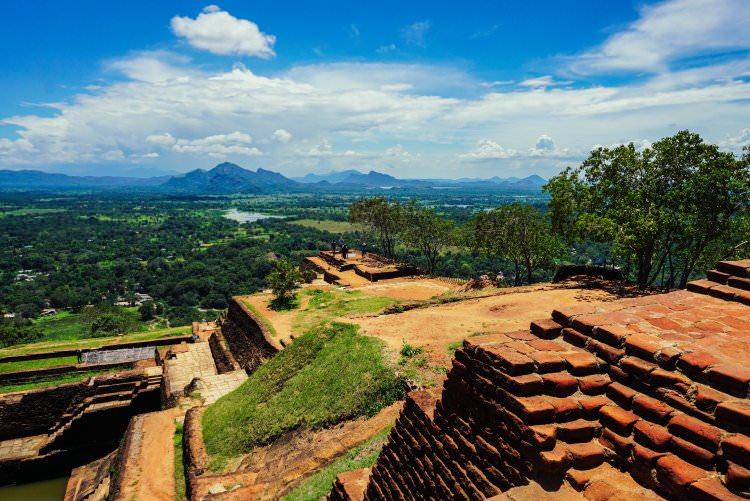 Image of the ruins at the top of Sigiriya Rock in Sri Lanka