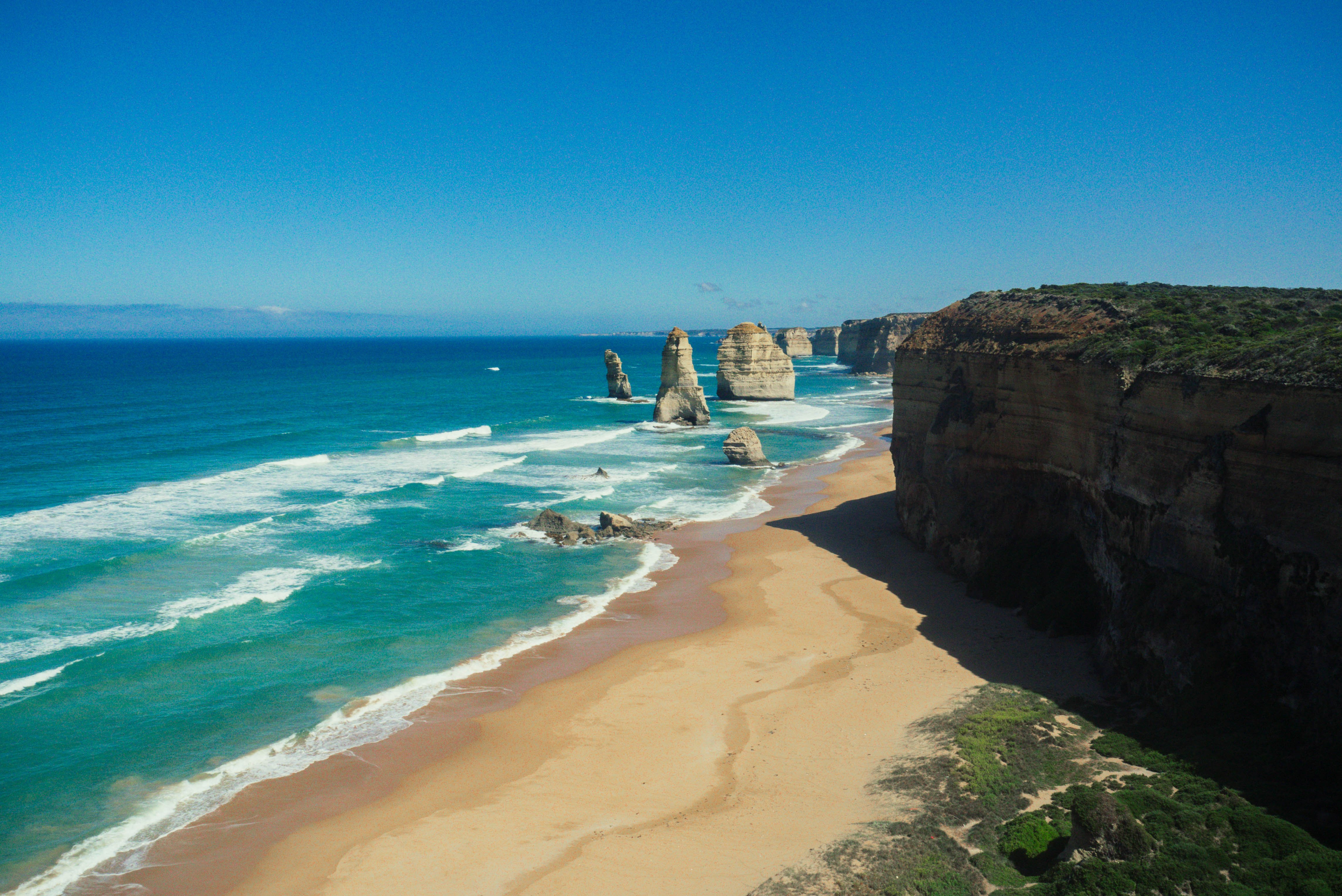 Image of twelve apostles rock formations in sea along great ocean road in australia