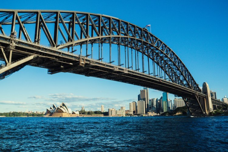 Image of sydney harbour bridge with the opera house and city skyline in the background
