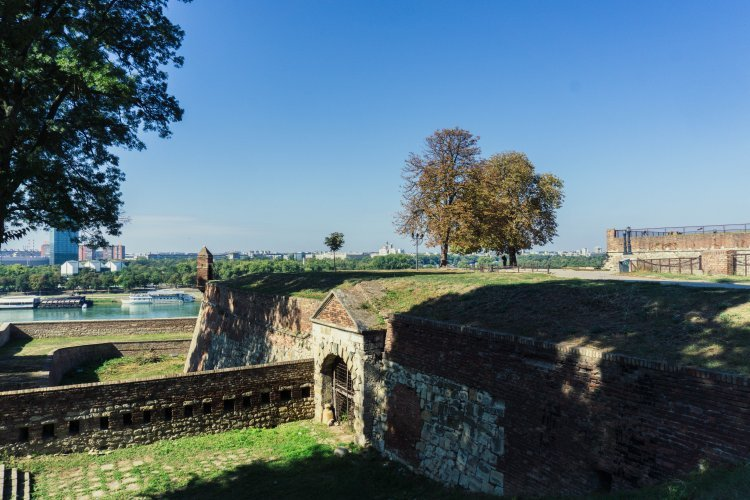 Exterior walls of Belgrade Fortress with Danube river in distance