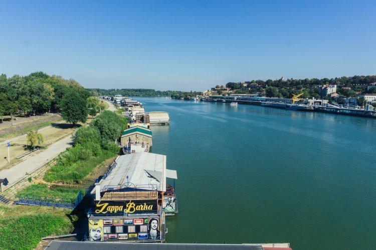 Floating riverboat club on Danube river in Belgrade, Serbia