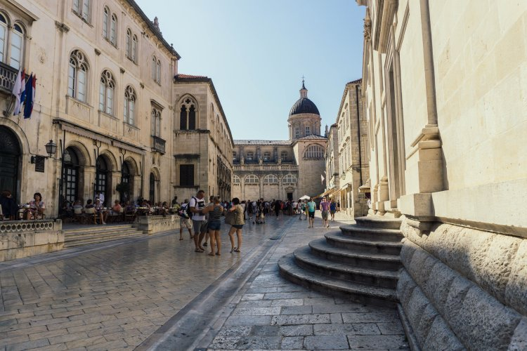 Inside the city walls on central Dubrovnik in Croatia