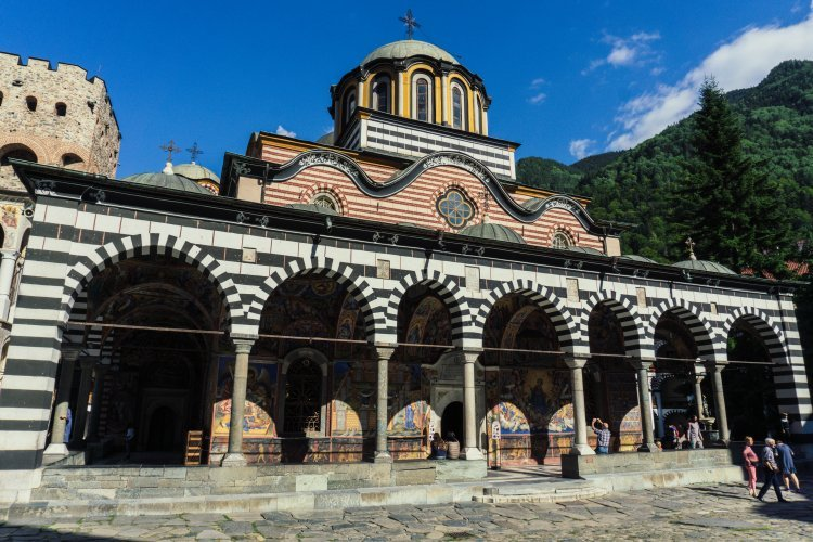 Ornately decorated exterior of Rila Monastery in Bulgaria