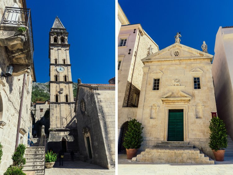 Image of stairs leading up to tall clocktower on left and image of entrance to small baroque church on right in Perast, Montenegro