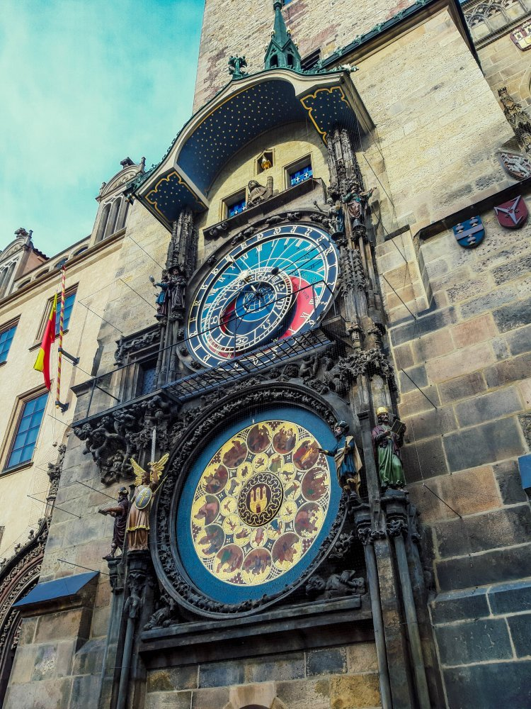 Astronomical Clock on the wall of the Old Town Hall in Prague