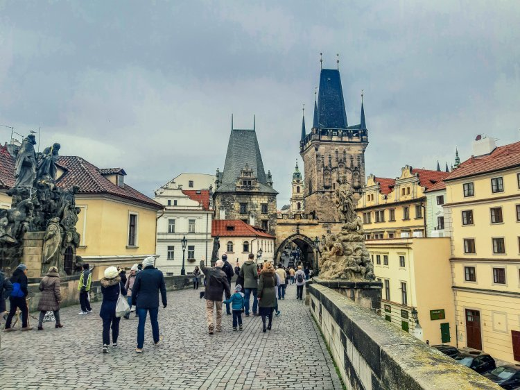 Charles Bridge looking towards the gate into Old Town in Prague