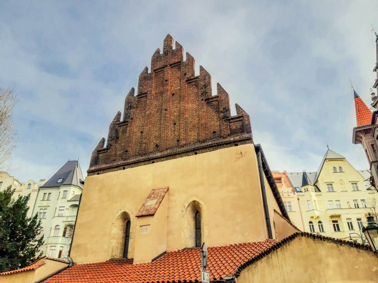 Synagogue with jagged roof in Jewish Quarter of Prague